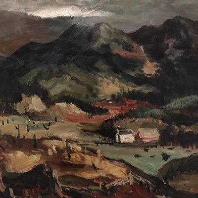 """Image: Kenneth Callahan (1905-1986), """"Mt. Index"""", c. 1935, oil and tempera on board, Cascadia Art Museum, Gift of Milt and Sherry Smrstik. Photo courtesy of Cascadia Art Museum."""